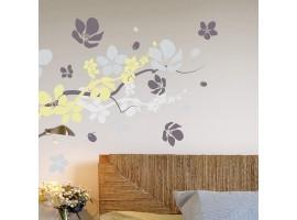 Adesivo murale rami in fiore