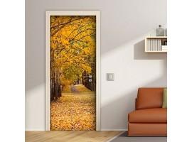 adesivo per porta viale d'autunno