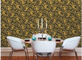 Floral Black Gold Glitter