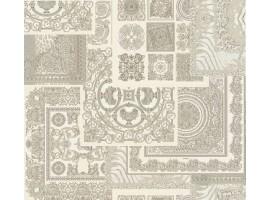 Carta da parati Versace patchwork crema argento