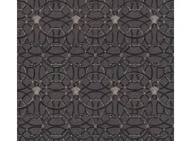Carta da parati Versace cerchi grigio nero