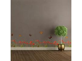 Adesivo murale papaveri erba