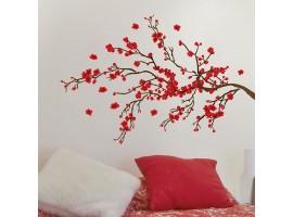 Adesivo murale ramo rosso