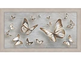 Quadro in legno con cornica Farfalle Shabby