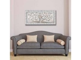 Quadro in tela con glitter cornice Abbraccio nell'Albero Argento