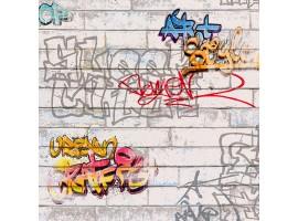 Carta da parati Mattoni & Graffiti