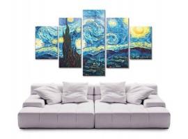 Quadro cinque pannelli Notte Stellata di Van Gogh
