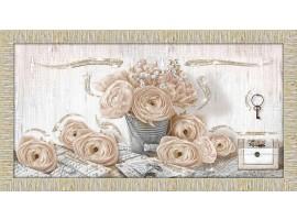 Quadro in legno con glitter Rose Shabby oro