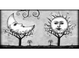 Quadro su tela Sole e Luna bianco e nero