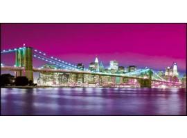 New York Lit Violet   Quadro America su tela