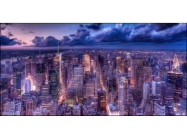 New York View Violet | Quadro America su tela