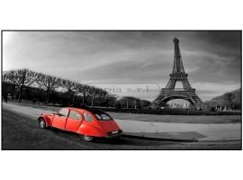 Tour Eiffel et voiture rouge | Quadro su tela