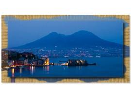Quadro in tela con cornice Napoli di Sera Oro