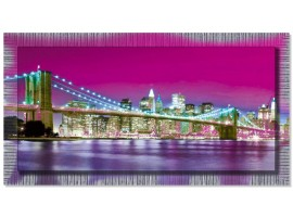 Quadro in tela con cornice New York Violet Argento