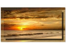 Quadro in tela con cornice Tramonto sulla Spiaggia Oro