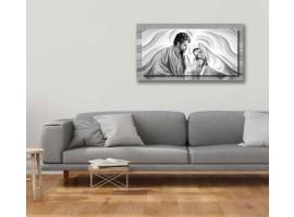 Quadro in tela con cornice Natività Grey Argento