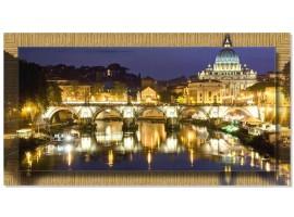 Quadro in tela con cornice Roma Tevere Oro