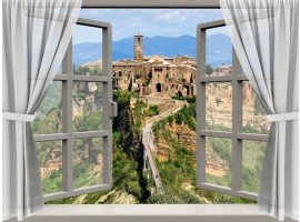 Adesivo finta finestra su borgo toscano