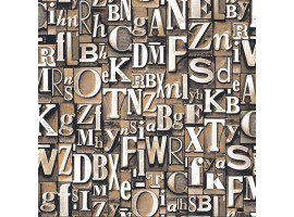 Lettere Tipografiche Beige - Carta da parati