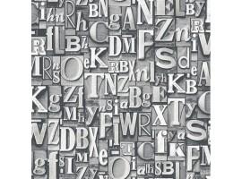 Lettere Tipografiche Grey - Carta da parati