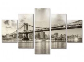 Quadro cinque pannelli Ponte di Brooklyn