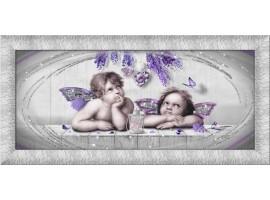 Quadro in tela con glitter cornice Cupids Violet Argento