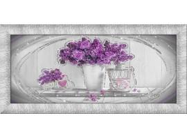 Quadro in tela con glitter cornice Purple Flowers Argento