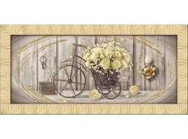 Quadro in tela con glitter cornice Yellow Roses Oro