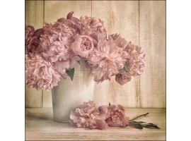 Vase of Peony | Quadro Shabby Chic quadrato