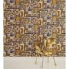 Carta da parati Versace patchwork blu oro
