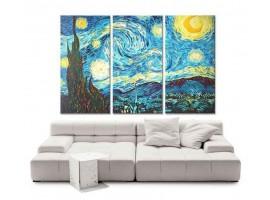 Quadro tre pannelli Notte Stellata di Van Gogh