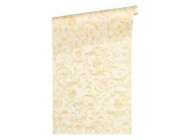 Floral White Beige Glitter