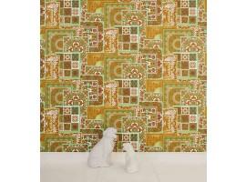 Carta da parati Versace patchwork verde oro