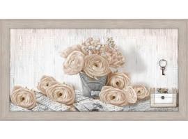 Quadro in legno con cornica Rose Shabby