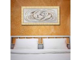 Quadro in tela con glitter cornice Sacra Famiglia Modern Oro