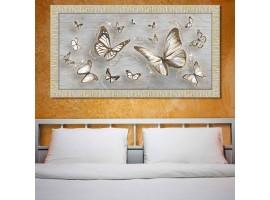 Quadro in legno con glitter Farfalle Shabby oro