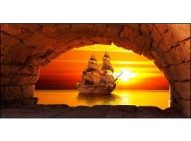 quadro canvas tramonto con galeone