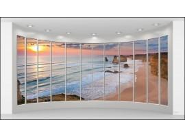 Quadro Trompe l'Oeil | Spiaggia rosa al tramonto