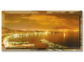 Quadro in tela con cornice Napoli di Notte Oro