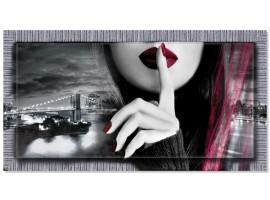 Quadro in tela con cornice New York Purple Silence Argento