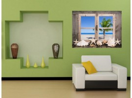 Ambientazione Trompe l'Oeil | Finestra Vista su Paesaggio Marino