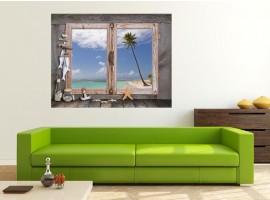 Ambientazione Trompe l'Oeil | Finestra su Spiaggia Esotica