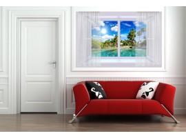 Trompe l'Oeil | Finestra con su Spiaggia Tropicale ambientazione