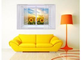 Ambientazione Trompe l'Oeil | Finestra sul campo di girasoli