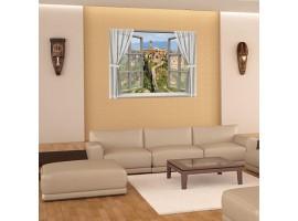 Adesivo finta finestra su borgo toscano | Ambientazione