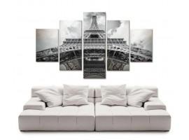 Quadro cinque pannelli Torre Eiffel