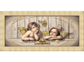 Quadro in tela con glitter cornice Cupids Brown Oro