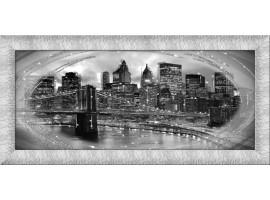 Quadro in tela con glitter cornice New York Argento
