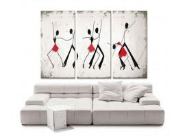 Quadro tre pannelli Danza