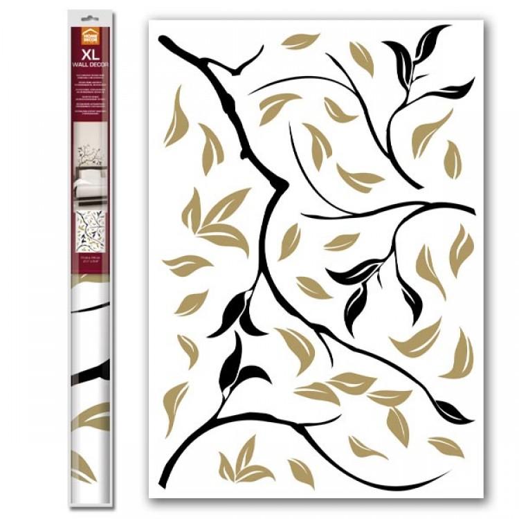 Adesivo murale Ramo oro e nero (confezione)